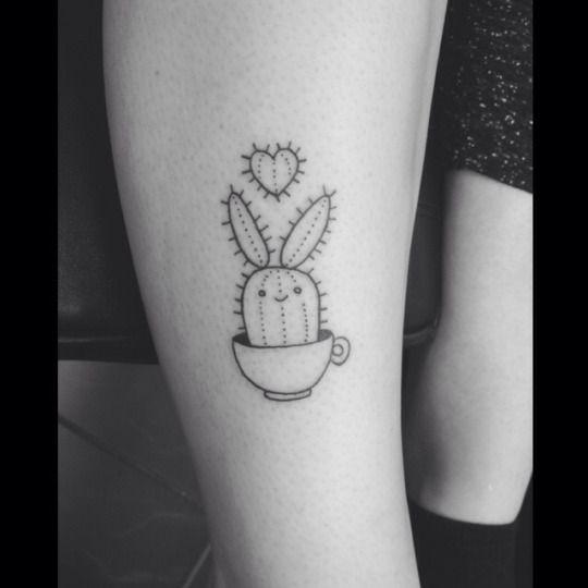 cactus bunny in a tea cup tattoo