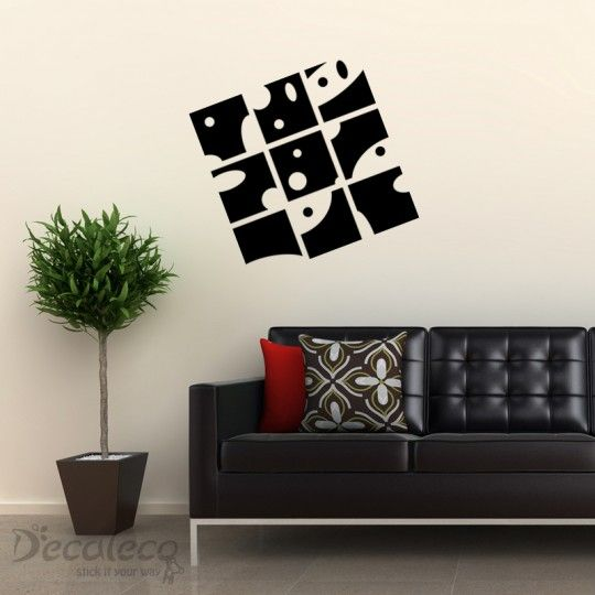 Modern Art - An urban room needs a contemporary design. This modern wall decal is a great way to design any part of your room. It's also suitable for restaurants or receiving areas. www.decaleco.com #abstract_wall_decals #wall_art_decals #wall_tattoos #vinyl_wall_decals #contemporary_wall_stickers