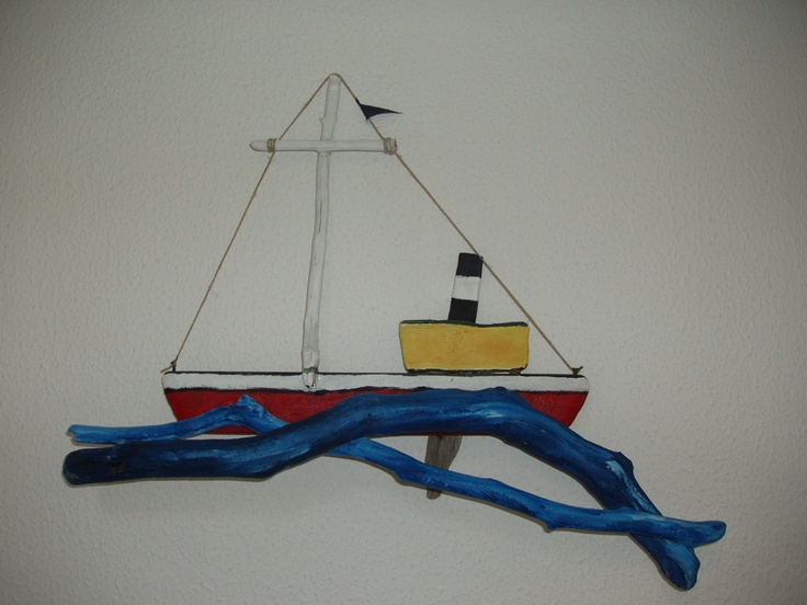 Wooden boat, painted