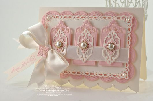 Another delicate card from Becca Feeken (amazingpapergrace...) using Spellbinders latest release dies.