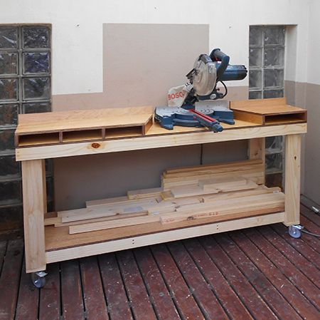 This workbench for a mitre saw allows you to cut long lengths with ease and be able to move the saw around should you need to. Buy everything you need at your local Builders and make your own workbench.