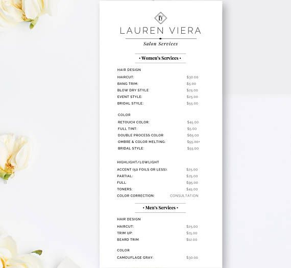 Pinterestu0027teki 25u0027den fazla en iyi Salon price list fikri - salon price list