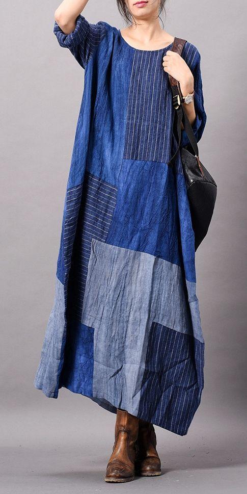 Spring Blue Loose Cotton Linen Maxi Dresses For Women Q14016 ... 9df1e8d553e9