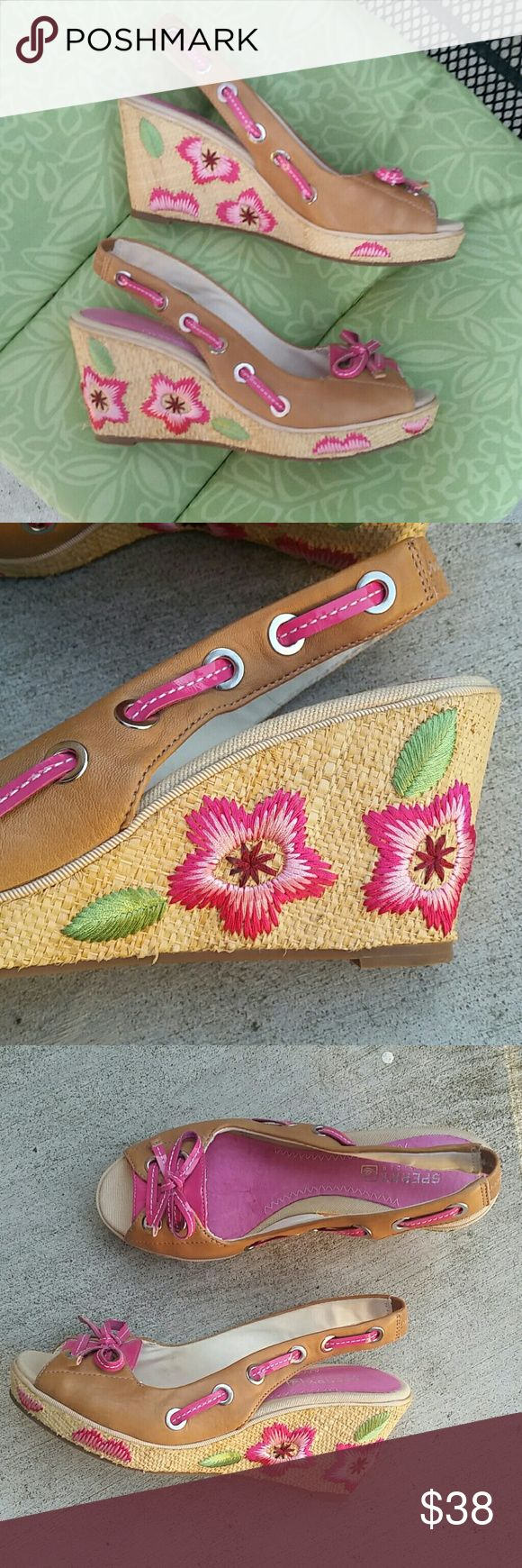 SPERRY EMBROIDERED WEDGES WORN ONCE! EXCELLENT CONDITION. I love these but my feet went up 1/2 a size during pregnancy. Slingback wedges, bow detail, flower embroidery. Size 6.5 no trades. Auto Discount on 2 or more items. Bundle and save with 1 shipping charge. If you like these wedges, check out the Sperry loafers listed! Sperry Shoes Wedges