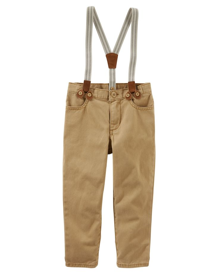Toddler Boy Suspender Twill Pants | Carters.com