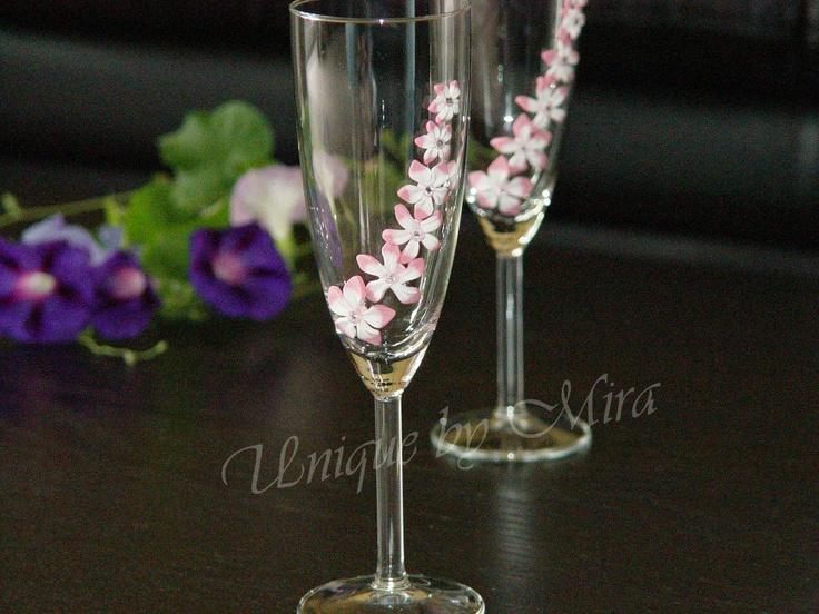 Handmade Toasted glasses decorated with Swarovski elements.. $78.00, via Etsy.