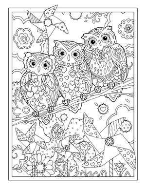 Creative Haven Owls Colouring Book by Marjorie Sarnat ~  Pinwheel Owls