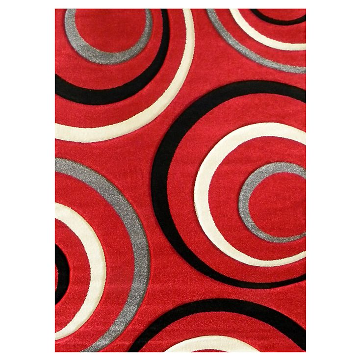 Add a touch of bold to your living quarters with this Studio 605 Geometric Design Red Area Rug. This rug features a geometric circle design in tones of beige, black and grey on a contrasting red background.