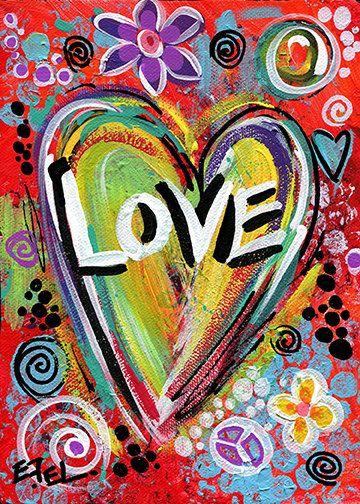 Fine Art Print from My Original Painting Love Heart Contemporary Modern Abstract Inspirational Pop Art