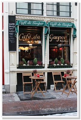 walking thru the winter streets of Amsterdam so inviting! #BlogTourCGN #Amsterdam #Cafe
