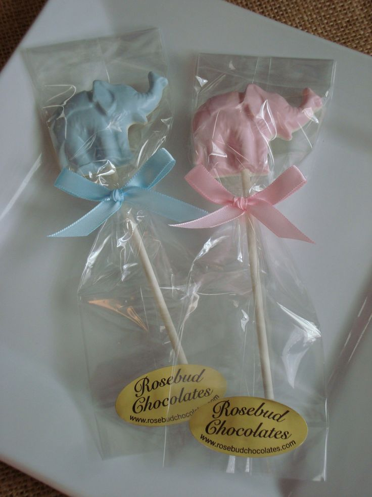 Chocolate Elephant Lollipops Baby Shower Candy Favors