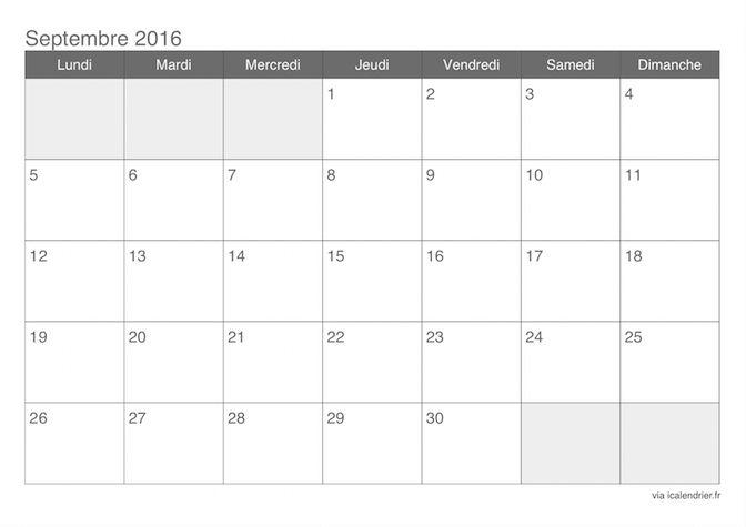 De 25 b sta id erna om calendrier septembre 2016 bara p pinterest calendrier septembre - Calendrier lunaire septembre 2016 ...