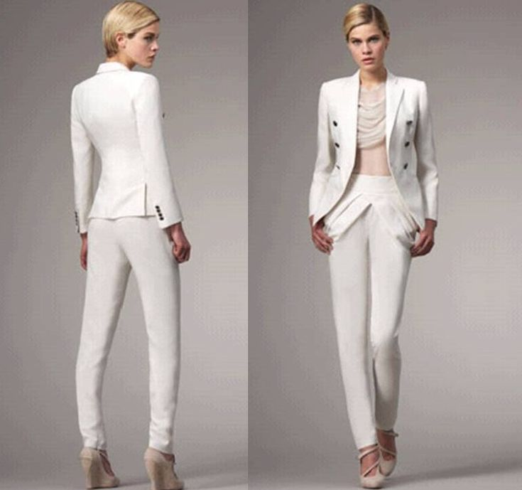 Elegant White Wedding Pant Suits For Women For Pinterest