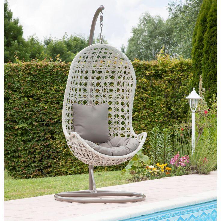 Fauteuil suspendu forme œuf Taupe / Ivoire - Etna - Les canapés et fauteuils de jardin - Meubles de jardin - Tous les meubles - Décoration d'intérieur - Alinéa