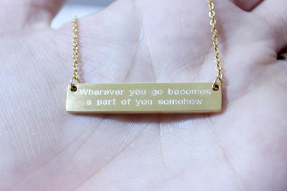 Large Engraved Bar Necklace with State of your choice and state motto or 2 custom lines of text measures 1.5 inches by 3/4 of an inch. Finished in your choice of Silver, Gold or Rose Gold. You may choose any state to include on this bar charm. Please leave state to be engraved in
