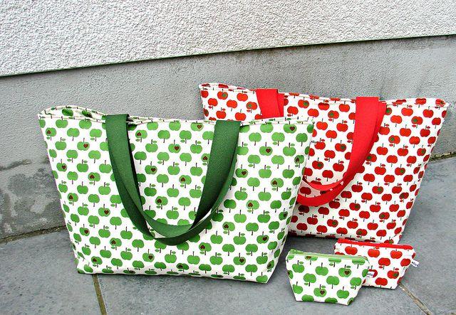 Emma-en-Mona tassen, volgens het tafelzeil-strandtas-patroon