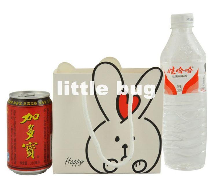 Дешевое милый кролик кролик 10pcs/lot пищевой упаковки 20*20*8cm, м бумаёные пакеты с ручками/хозяйственная сумка бесплатная доставка, Купить Качество Пакеты для упаковки непосредственно из китайских фирмах-поставщиках:                Дизайн : Кролик  Размер:    20 * 20 * 8 см     Цвет : Розовый или Белый как показано на рисунке  Ap