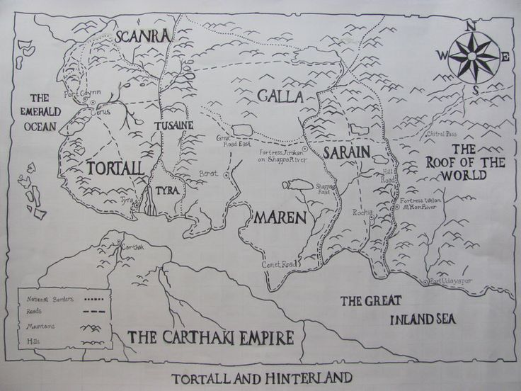 map of Tortall and Hinterland from Tortall series by Tamora Pierce