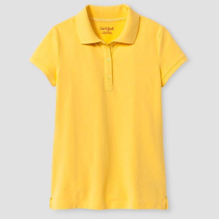 Girls' Short Sleeve Pique Polo Shirt Cat & Jack - Yellow Xxl, Girl's