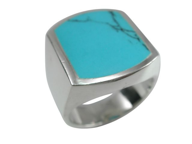 Sterling Silver 20x16mm Rectangle Blue Turquoise Ring