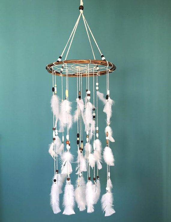 White Dream catcher mobile white Feather Mobile by handmadebyfofo