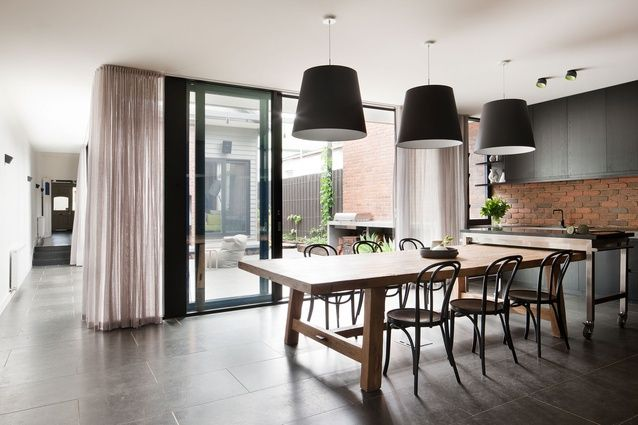Bridge Street Residence by Beatrix Rowe Interior Design. Beautiful tall and sheer curtains.