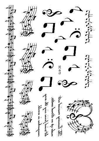 Large Taty Sketch Black White Music Notes Water Transfer Body Art Temporary Tattoo Stickers