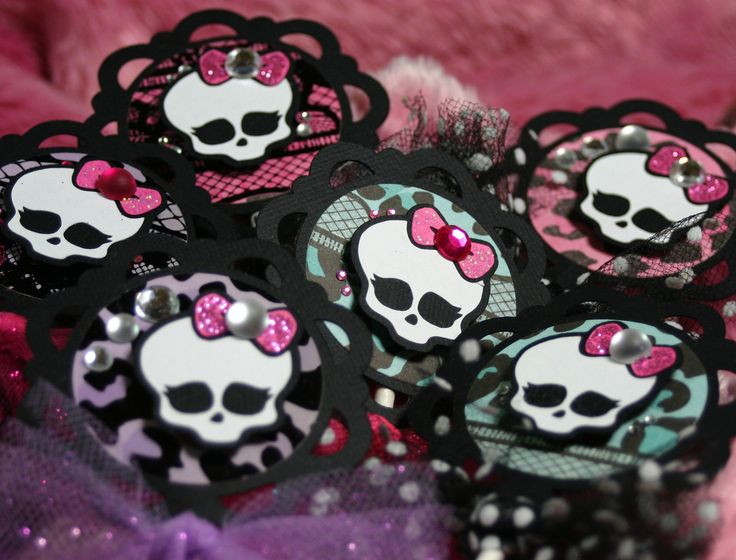 monster high cupcake toppers birthday party decorations picks monster high goth skull halloween skullete birthday via etsy