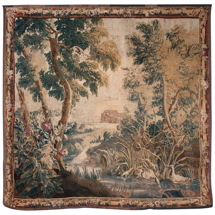 18th Century Aubusson Verdure Tapestry 10k 109.45 in.Hx110.24 in.W | From a unique collection of antique and modern tapestries at https://www.1stdibs.com/furniture/wall-decorations/tapestry/