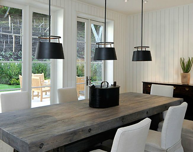 Rustic modern dining room. table and fixture: Dining Rooms, Interior, Ideas, Lighting, Light Fixtures, Wood Tables, Urban Electric, Dining Tables
