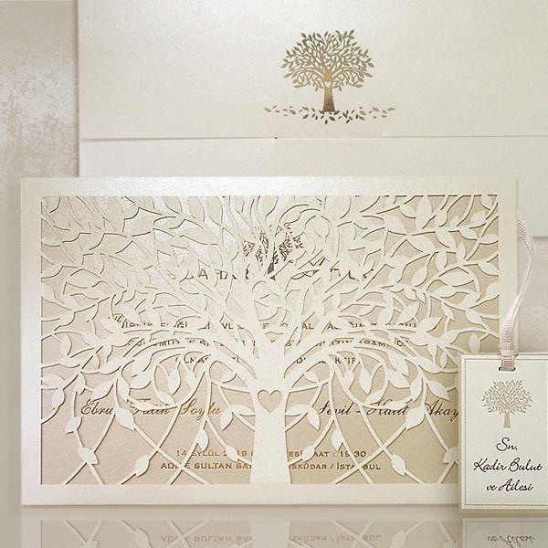 Love Tree Wedding Invitations  - beautiful set of invitations, laser cut case and 3d envelope