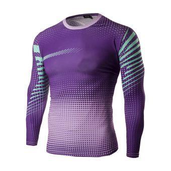Hombres Camisetas de Fondo de Seco Rápido de Deportes Montar  Apretados Tops Estampados de Larga Manga  violeta