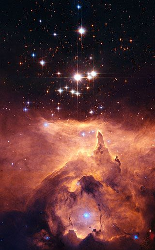 The star cluster Pismis 24 lies in the core of the large emission nebula NGC 6357 that extends one degree on the sky in the direction of the Scorpius constellation. Image from Hubble at http://www.spacetelescope.org/images/heic0619a/
