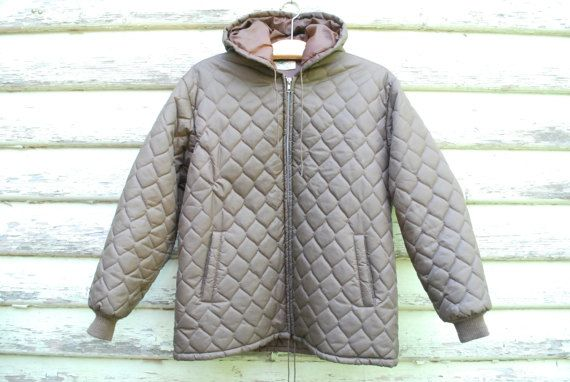 Vintage 70s Quilted Bomber Jacket Hooded by GamineRagVintage