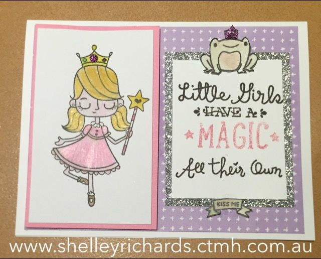 Kaleidoscope paper; Birthday Princess Occasions stamp set (C1631); water colour paints used for the princess. Silver shimmer trim (cut in half lengthwise) behind the sentiment.