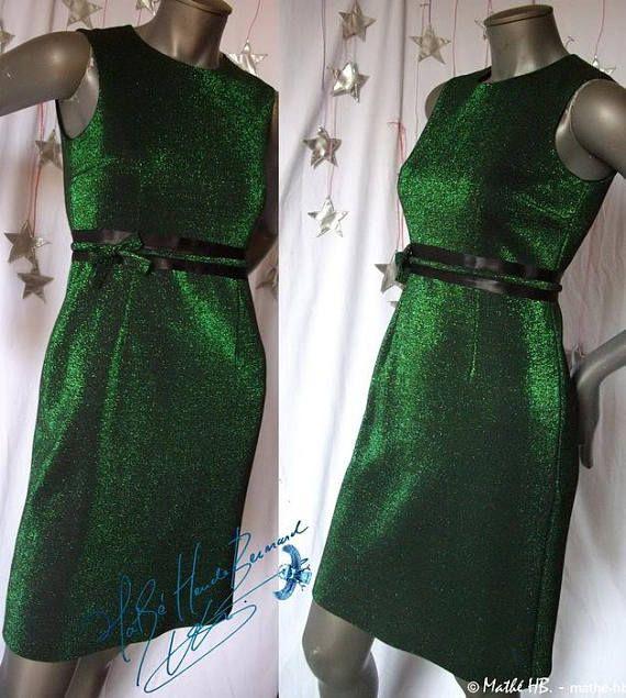 dress green lamé and black tissue jersey retro styl cut