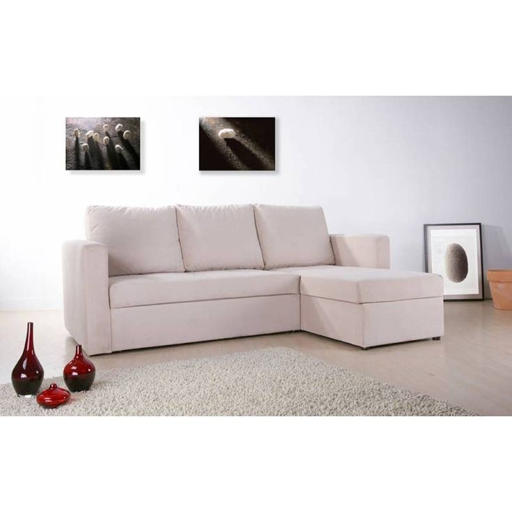 Beige Faux Leather Sectional Sofa Bed With Right Facing Storage Chaise