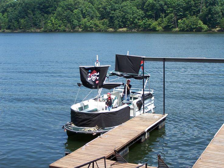 Decorate a pontoon into a pirate ship | Atlanta Team Building Adventures Lake Lanier Islands Sailing