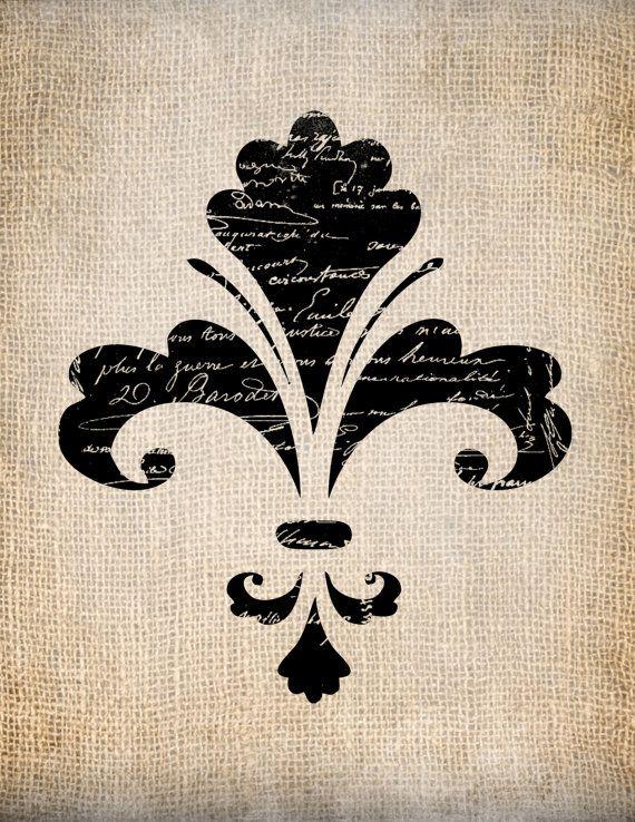 Antique fleur de lis french ornate 3 script illustration digital download for papercrafts - Dessin fleur de lys ...