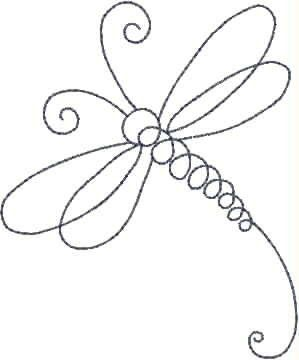Dragonfly Line Machine Embroidery Design by sophieslittlebits
