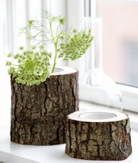 I can make these in all sizes, drill out the center and insert a cheap plastic tube vase. great idea
