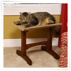 Mr Herzhers Craftsman Series Early American Brown Single Seat Cat Perch