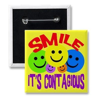 SMILE IT'S CONTAGIOUS PIN by dgpaulart