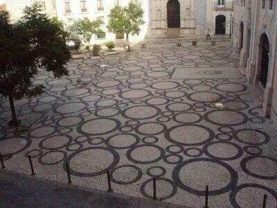 Calçada portuguesa.  Portuguese cobblestone. João Estevão Square, Aveiro.