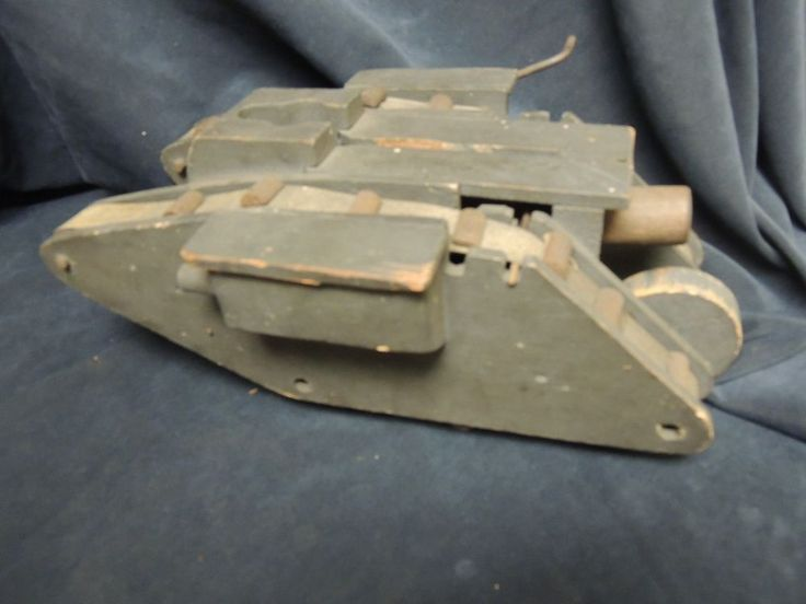 Vintage Wwi Wood Toy Tank British Mark Iv Pull Toy Harley