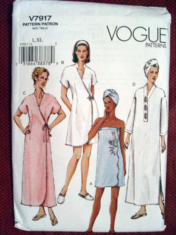 VOGUE MISSES' ROBES, SHOWER WRAP, HEAD WRAP & SLIPPERS PATTERN 7917 Sz L-XL OOP #Vogue #SewingPattern