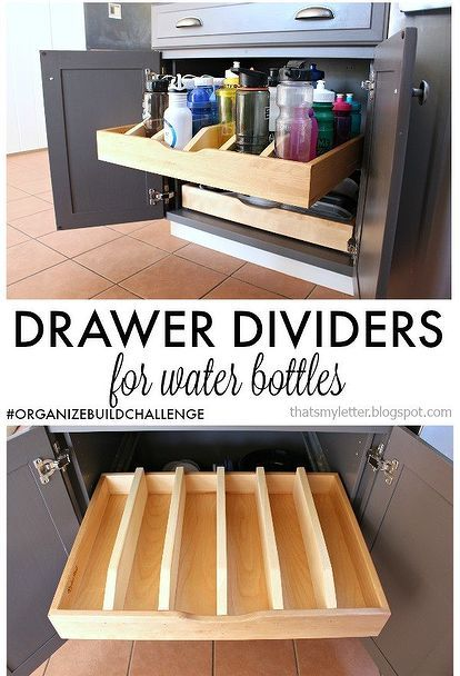 diy drawer dividers for water bottles, diy, kitchen cabinets, kitchen design, organizing, storage ideas