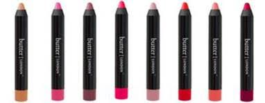 """""""butter LONDON LIPPY Bloody Brilliant Lip Crayons ($20 USD) –Precise and easy to use, these high-shine, long-wear crayons provide the full coverage and pigment of a lipstick and the intense shine and smoothness of a gloss. The long-wearing formulation contains Mango Seed Oil and Marula Oil to improve lip moisturization, as well as Niacinamide which helps the skin barrier for a smoother, more even lip tone. Each lip crayon comes complete with a built-in sharpener, so you can keep the…"""