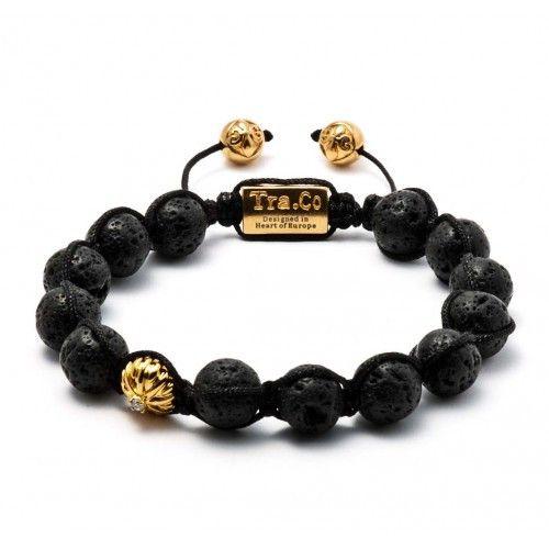 Lavastone & 18K gold plated bead & Cubic Zircon