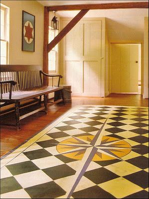 Painted Floor Cloth with Mariner's Compass . . .   Content in a Cottage
